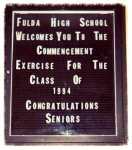 Fulda High School commencement sign